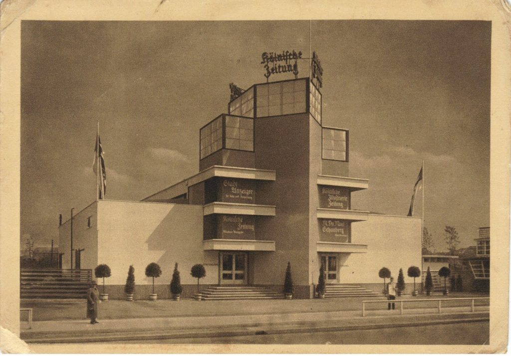 """Pavillon der """"Kölnischen Zeitung"""" auf der internationalen Presseausstellung """"Pressa"""" in Köln, 1928"""